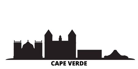 Cape Verde city skyline isolated vector illustration. Cape Verde travel cityscape with landmarks