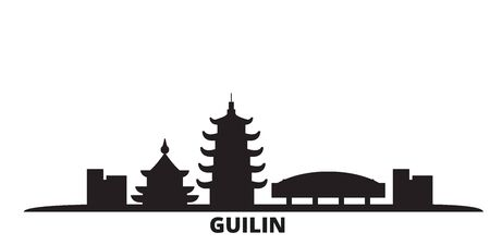 China, Guilin city skyline isolated vector illustration. China, Guilin travel cityscape with landmarks