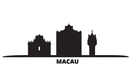 China, Macau city skyline isolated vector illustration. China, Macau travel cityscape with landmarks
