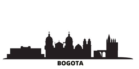 Colombia, Bogota city skyline isolated vector illustration. Colombia, Bogota travel cityscape with landmarks