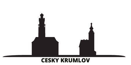 Czech Republic, Cesky Krumlov city skyline isolated vector illustration. Czech Republic, Cesky Krumlov travel cityscape with landmarks