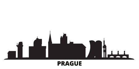 Czech Republic, Prague city skyline isolated vector illustration. Czech Republic, Prague travel cityscape with landmarks 向量圖像