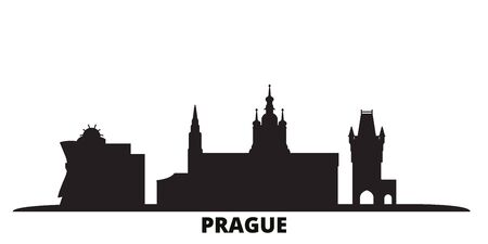 Czech Republic, Prague City city skyline isolated vector illustration. Czech Republic, Prague City travel cityscape with landmarks