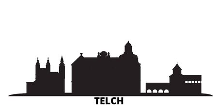 Czech Republic, Telc city skyline isolated vector illustration. Czech Republic, Telc travel cityscape with landmarks Ilustração