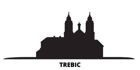 Czech Republic, Trebic city skyline isolated vector illustration. Czech Republic, Trebic travel cityscape with landmarks