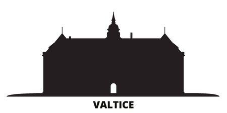 Czech Republic, Valtice city skyline isolated vector illustration. Czech Republic, Valtice travel cityscape with landmarks
