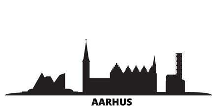 Denmark, Aarhus city skyline isolated vector illustration. Denmark, Aarhus travel cityscape with landmarks
