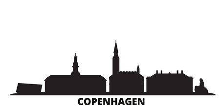 Denmark, Copenhagen city skyline isolated vector illustration. Denmark, Copenhagen travel cityscape with landmarks