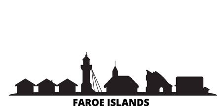 Denmark, Faroe Islands city skyline isolated vector illustration. Denmark, Faroe Islands travel cityscape with landmarks Ilustrace