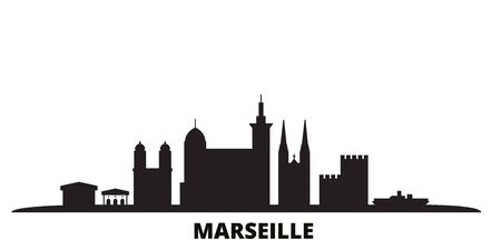 France, Marseille city skyline isolated vector illustration. France, Marseille travel cityscape with landmarks Ilustracja