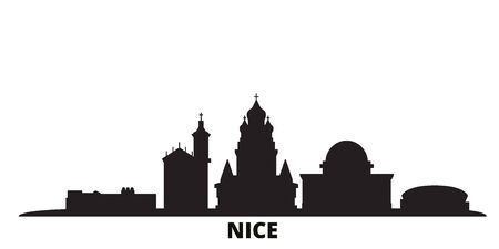 France, Nice city skyline isolated vector illustration. France, Nice travel cityscape with landmarks