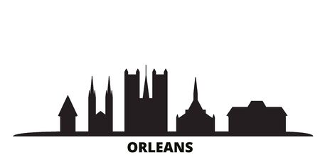 France, Orleans city skyline isolated vector illustration. France, Orleans travel cityscape with landmarks Illustration