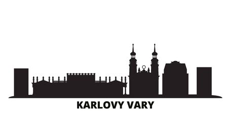 Czech Republic, Karlovy Vary city skyline isolated vector illustration. Czech Republic, Karlovy Vary travel cityscape with landmarks