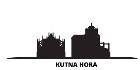 Czech Republic, Kutna Hora city skyline isolated vector illustration. Czech Republic, Kutna Hora travel cityscape with landmarks Ilustração