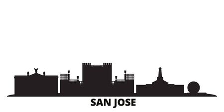 Costa Rica, San Jose city skyline isolated vector illustration. Costa Rica, San Jose travel cityscape with landmarks Illusztráció