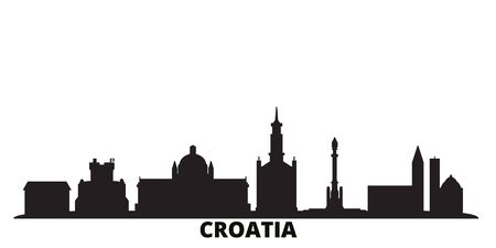 Croatia city skyline isolated vector illustration. Croatia travel cityscape with landmarks