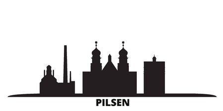 Czech Republic, Pilsen city skyline isolated vector illustration. Czech Republic, Pilsen travel cityscape with landmarks
