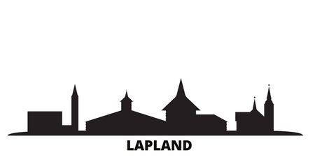 Finland, Lapland city skyline isolated vector illustration. Finland, Lapland travel cityscape with landmarks