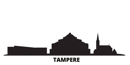Finland, Tampere city skyline isolated vector illustration. Finland, Tampere travel cityscape with landmarks Ilustracja