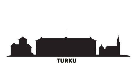Finland, Turku city skyline isolated vector illustration. Finland, Turku travel cityscape with landmarks