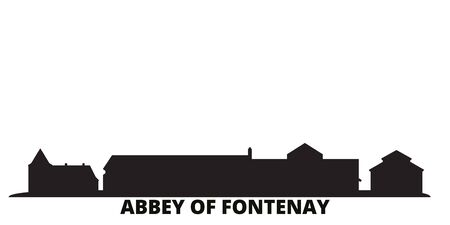 France, Abbey Of Fontenay city skyline isolated vector illustration. France, Abbey Of Fontenay travel cityscape with landmarks