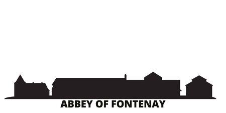France, Abbey Of Fontenay city skyline isolated vector illustration. France, Abbey Of Fontenay travel cityscape with landmarks