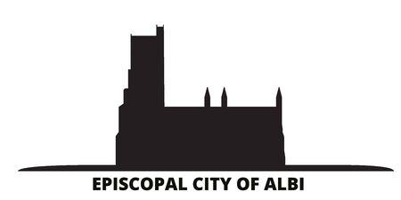 France, Albi city skyline isolated vector illustration. France, Albi travel cityscape with landmarks Иллюстрация