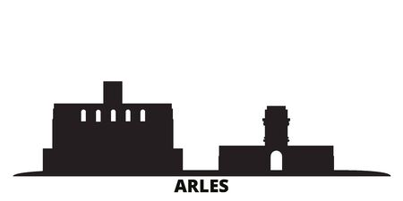 France, Arles city skyline isolated vector illustration. France, Arles travel cityscape with landmarks