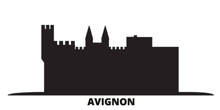 France, Avignon Landmark city skyline isolated vector illustration. France, Avignon Landmark travel cityscape with landmarks Ilustracja