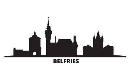 France, Belfries city skyline isolated vector illustration. France, Belfries travel cityscape with landmarks Çizim