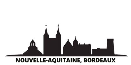 France, Bordeaux city skyline isolated vector illustration. France, Bordeaux travel cityscape with landmarks