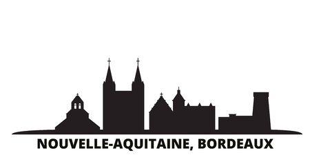 France, Bordeaux ville illustration vectorielle isolé. La France, le paysage urbain de voyage de Bordeaux avec des points de repère
