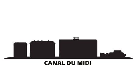 France, Canal Du Midi city skyline isolated vector illustration. France, Canal Du Midi travel cityscape with landmarks Illustration