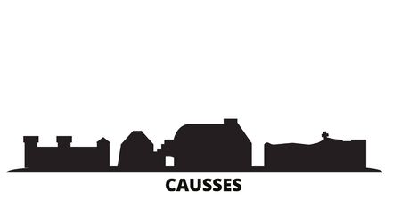 France, Causses city skyline isolated vector illustration. France, Causses travel cityscape with landmarks Illustration