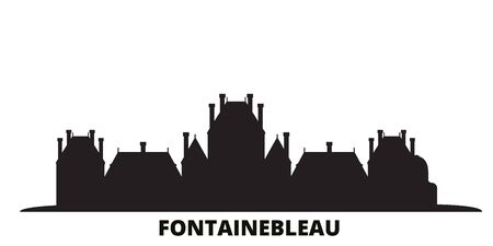 France, Fontainebleau Landmark city skyline isolated vector illustration. France, Fontainebleau Landmark travel cityscape with landmarks
