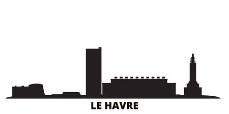 France, Le Havre city skyline isolated vector illustration. France, Le Havre travel cityscape with landmarks