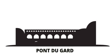 France, Pont Du Gard city skyline isolated vector illustration. France, Pont Du Gard travel cityscape with landmarks Illusztráció