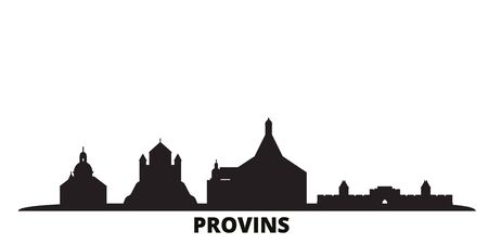 France, Provins city skyline isolated vector illustration. France, Provins travel cityscape with landmarks