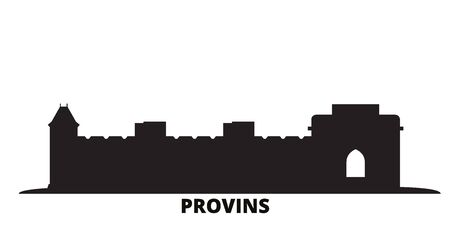 France, Provins Landmark city skyline isolated vector illustration. France, Provins Landmark travel cityscape with landmarks Ilustração