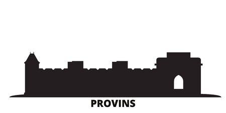 France, Provins Landmark city skyline isolated vector illustration. France, Provins Landmark travel cityscape with landmarks Illustration