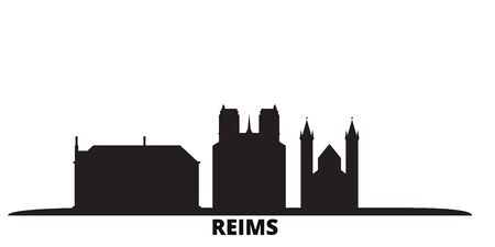 France, Reims city skyline isolated vector illustration. France, Reims travel cityscape with landmarks  イラスト・ベクター素材