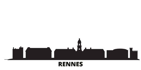 France, Rennes city skyline isolated vector illustration. France, Rennes travel cityscape with landmarks