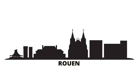 France, Rouen city skyline isolated vector illustration. France, Rouen travel cityscape with landmarks