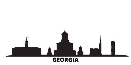 Georgia city skyline isolated vector illustration. Georgia travel cityscape with landmarks