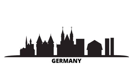 Germany city skyline isolated vector illustration. Germany travel cityscape with landmarks Illusztráció