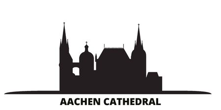 Germany, Aachen Cathedral city skyline isolated vector illustration. Germany, Aachen Cathedral travel cityscape with landmarks Иллюстрация