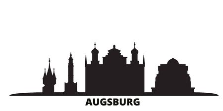 Germany, Augsburg city skyline isolated vector illustration. Germany, Augsburg travel cityscape with landmarks Illustration