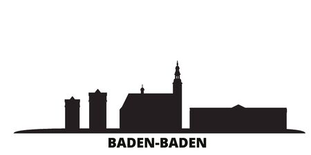Germany, Baden Baden city skyline isolated vector illustration. Germany, Baden Baden travel cityscape with landmarks 矢量图像