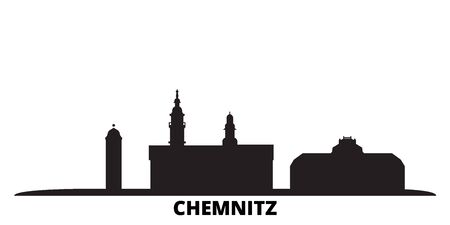 Germany, Chemnitz city skyline isolated vector illustration. Germany, Chemnitz travel cityscape with landmarks Illustration