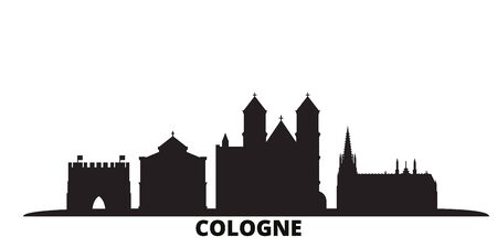 Germany, Cologne city skyline isolated vector illustration. Germany, Cologne travel cityscape with landmarks Illusztráció
